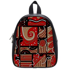 Red and brown abstraction School Bags (Small)