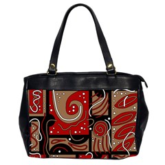 Red and brown abstraction Office Handbags (2 Sides)