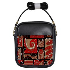 Red and brown abstraction Girls Sling Bags