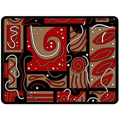 Red and brown abstraction Fleece Blanket (Large)