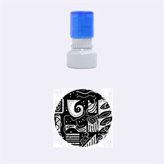 Red and brown abstraction Rubber Round Stamps (Small)