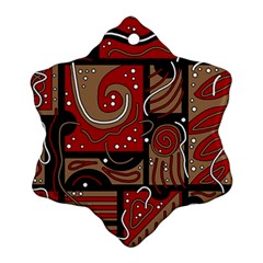Red and brown abstraction Snowflake Ornament (2-Side)