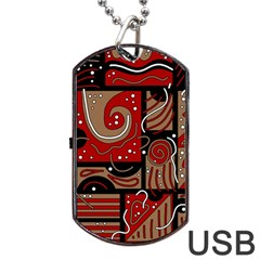Red and brown abstraction Dog Tag USB Flash (One Side)