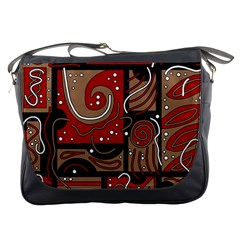 Red and brown abstraction Messenger Bags