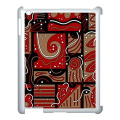 Red and brown abstraction Apple iPad 3/4 Case (White)