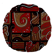 Red and brown abstraction Large 18  Premium Round Cushions