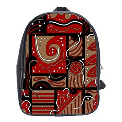 Red and brown abstraction School Bags (XL)