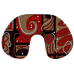 Red and brown abstraction Travel Neck Pillows