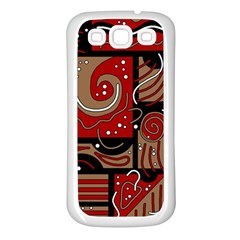 Red and brown abstraction Samsung Galaxy S3 Back Case (White)