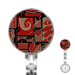 Red and brown abstraction Stainless Steel Nurses Watch