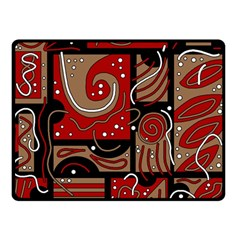 Red and brown abstraction Double Sided Fleece Blanket (Small)