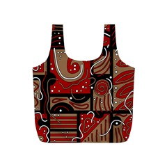 Red and brown abstraction Full Print Recycle Bags (S)