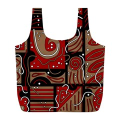 Red and brown abstraction Full Print Recycle Bags (L)