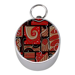 Red and brown abstraction Mini Silver Compasses