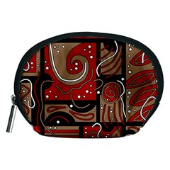 Red and brown abstraction Accessory Pouches (Medium)