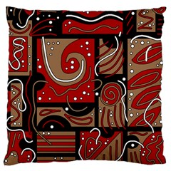 Red and brown abstraction Large Flano Cushion Case (One Side)