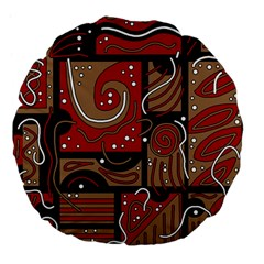Red and brown abstraction Large 18  Premium Flano Round Cushions