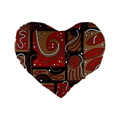 Red and brown abstraction Standard 16  Premium Flano Heart Shape Cushions