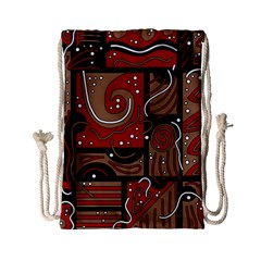 Red and brown abstraction Drawstring Bag (Small)