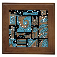 Blue and brown abstraction Framed Tiles