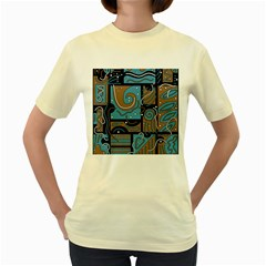 Blue and brown abstraction Women s Yellow T-Shirt