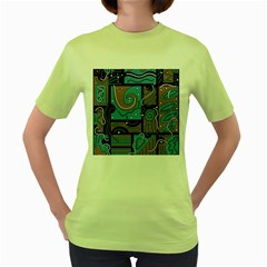 Blue and brown abstraction Women s Green T-Shirt