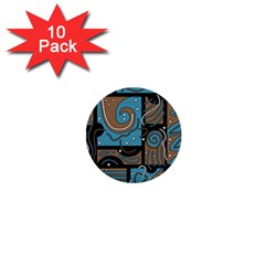 Blue and brown abstraction 1  Mini Buttons (10 pack)