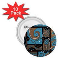 Blue and brown abstraction 1.75  Buttons (10 pack)