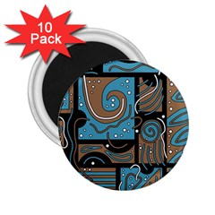 Blue and brown abstraction 2.25  Magnets (10 pack)
