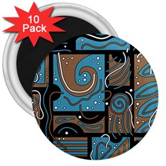 Blue and brown abstraction 3  Magnets (10 pack)
