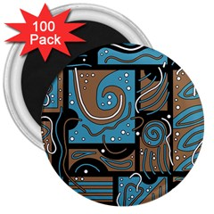 Blue and brown abstraction 3  Magnets (100 pack)