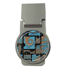 Blue and brown abstraction Money Clips (Round)