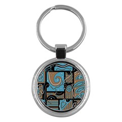 Blue and brown abstraction Key Chains (Round)