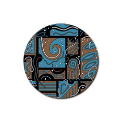 Blue and brown abstraction Rubber Coaster (Round)