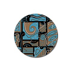Blue and brown abstraction Magnet 3  (Round)