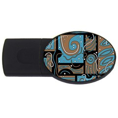 Blue and brown abstraction USB Flash Drive Oval (1 GB)