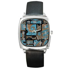Blue and brown abstraction Square Metal Watch