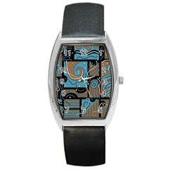 Blue and brown abstraction Barrel Style Metal Watch
