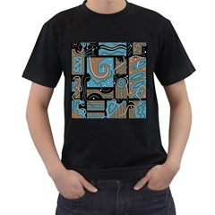 Blue and brown abstraction Men s T-Shirt (Black) (Two Sided)