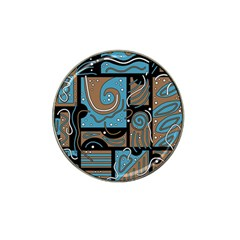 Blue and brown abstraction Hat Clip Ball Marker (4 pack)