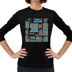 Blue and brown abstraction Women s Long Sleeve Dark T-Shirts