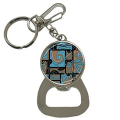 Blue and brown abstraction Bottle Opener Key Chains