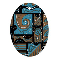 Blue and brown abstraction Oval Ornament (Two Sides)
