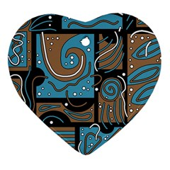 Blue and brown abstraction Heart Ornament (2 Sides)