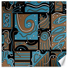 Blue and brown abstraction Canvas 20  x 20