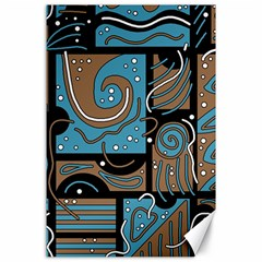 Blue and brown abstraction Canvas 24  x 36