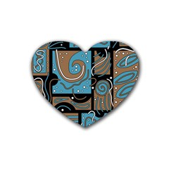 Blue and brown abstraction Rubber Coaster (Heart)