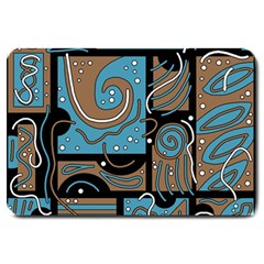 Blue and brown abstraction Large Doormat