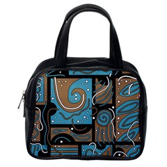 Blue and brown abstraction Classic Handbags (One Side)