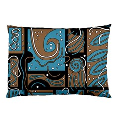 Blue and brown abstraction Pillow Case